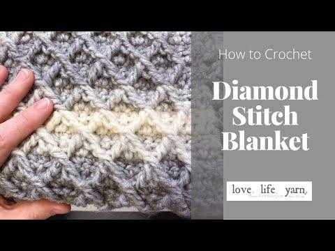 How to Crochet: Diamond Stitch Crochet Blanket