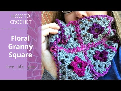 How to Crochet: Floral Granny Square