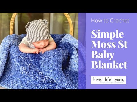 How to Crochet: Simple C2C Moss Stitch Baby Blanket