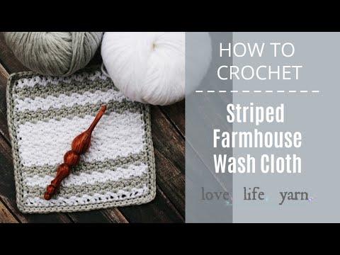 How to Crochet: Striped Farmhouse Wash Cloth