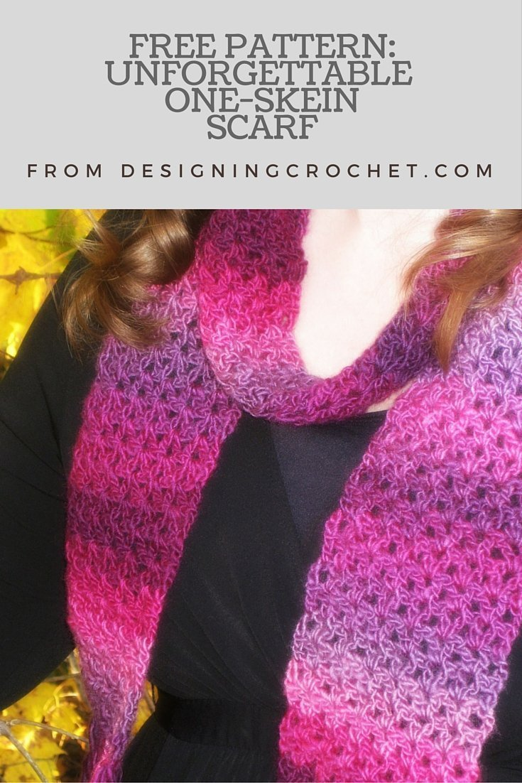 Free Pattern - Unforgettable One Skein Scarf from Designing Crochet
