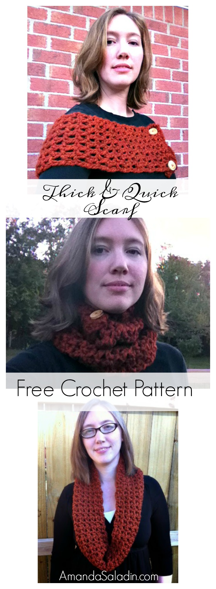 Works up super quickly with super bulky yarn and large hook! Buttons at end give it versatility.