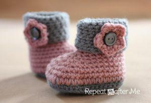 Cuffed Baby Booties - Girl