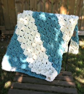 Quick and Easy Baby Blanket from Designing Crochet by Amanda Saladin. Works up super quickly with Bernat Blanket yarn.