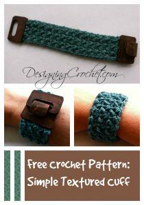Free Crochet Pattern: Simple Textured Cuff from Designing Crochet by Amanda Saladin