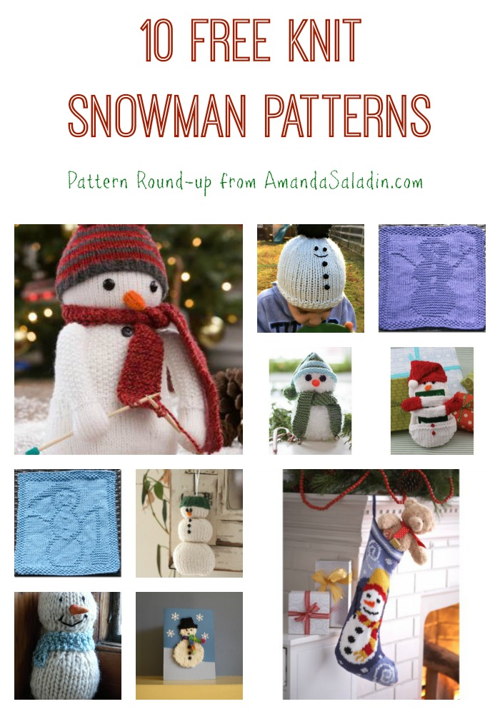 10 Free Knit Snowman Patterns - round-up from Amanda Saladin