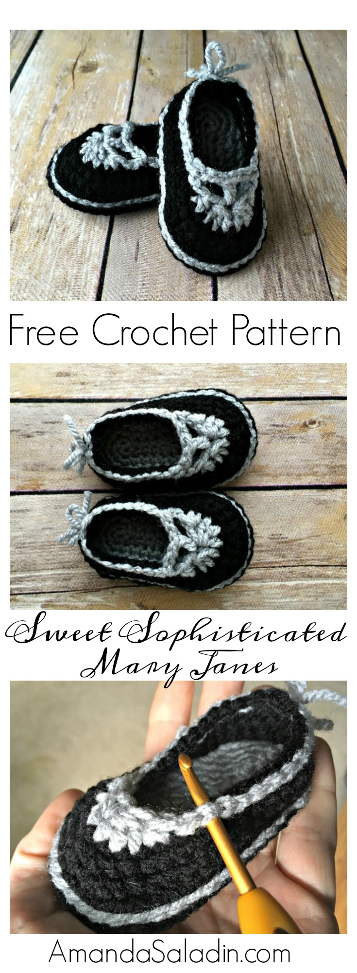 Free Crochet Pattern - Mary Jane Baby Booties