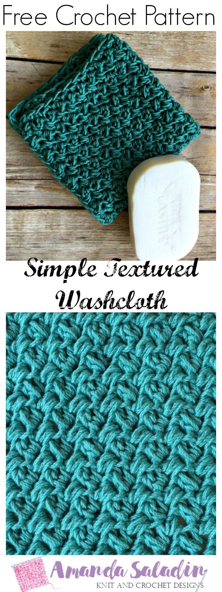 Free Crochet Pattern - Simple Textured Washcloth. SO easy!!
