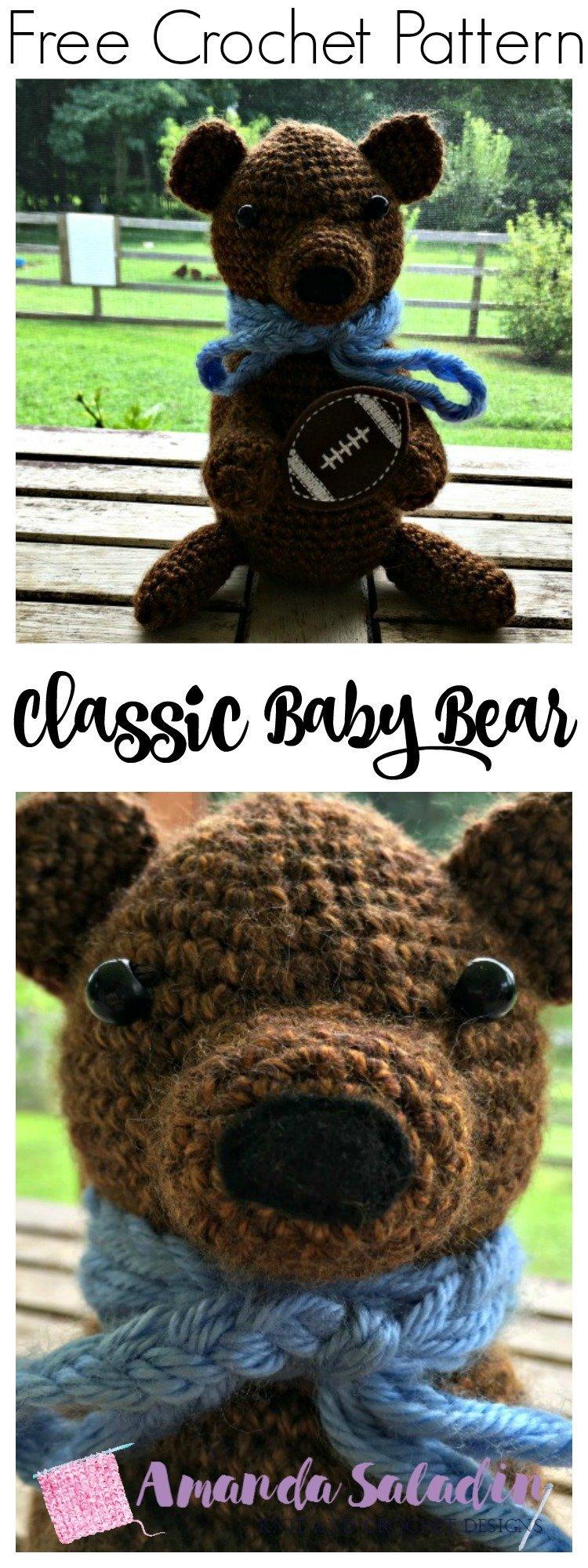 Free Crochet Pattern - Classic Baby Bear by Amanda Saladin