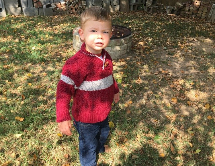 Free Crochet Pattern - Boy's Shawl-Collared Sweater