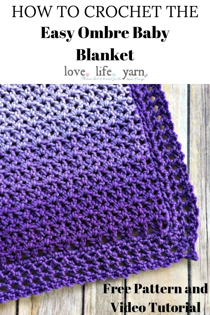 I can't believe how beautiful this crochet baby blanket turns out!  This Ombre baby blanket is so easy to make and the video tutorial makes even the border so simple - you have GOT to try this free pattern! <3
