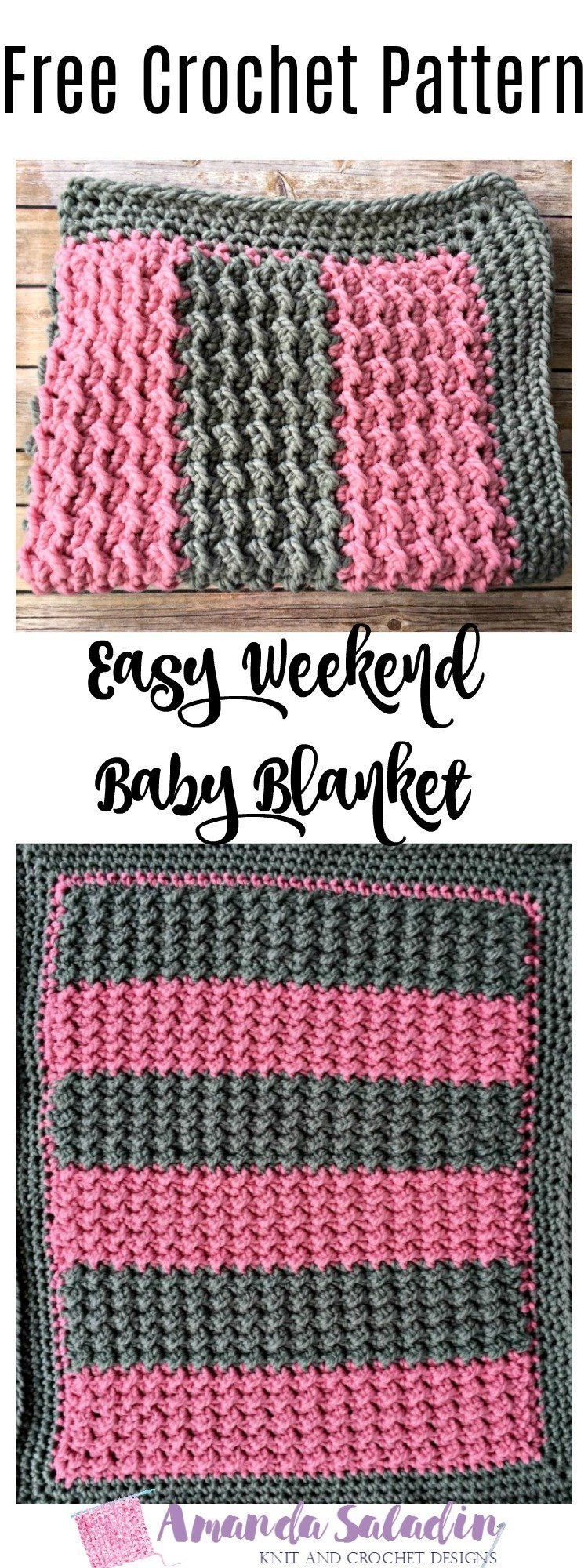 Free Crochet Pattern - Easy Weekend Baby Blanket