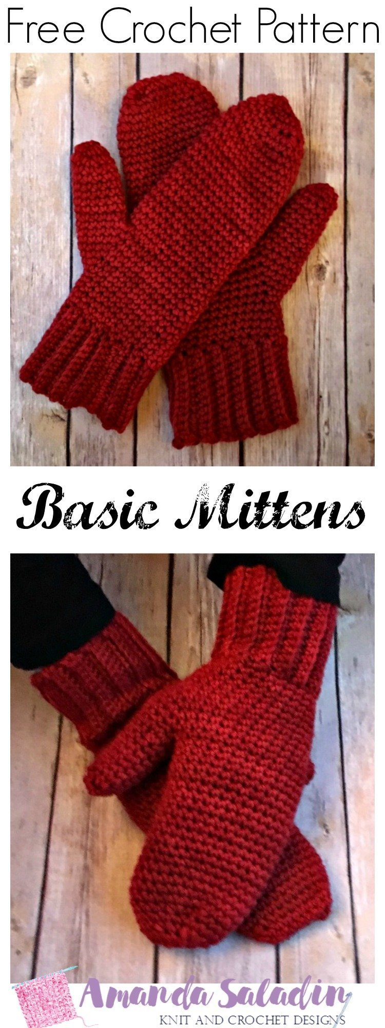 Free Crochet Pattern - Basic Mittens