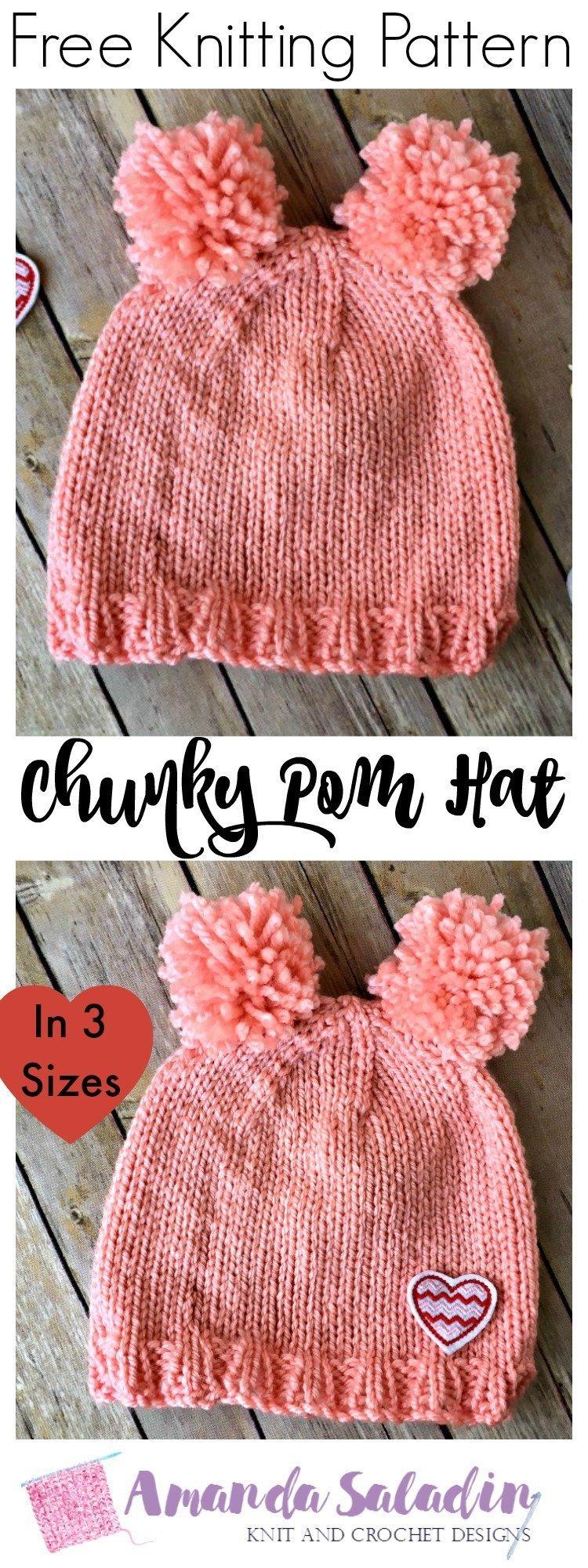 Free Knitting Pattern - Chunky Pom Hat