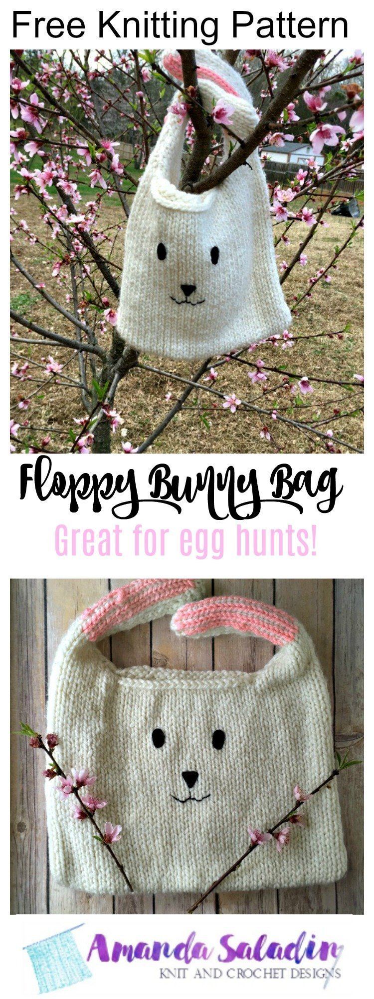 Free Knitting Pattern - Floppy Bunny Bag
