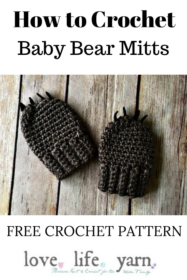These are so adorable!  In two sizes and look at the cute little bear claws.  I might make these in white for a polar bear!  Free Crochet Pattern and there is also a matching hat and booties!  Too cute!