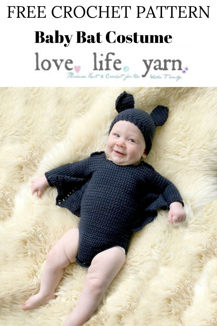 I have to make this adorable costume this year!  This free crochet pattern for the Baby Bat Costume is too cute for words - and it comes in sizes 6 and 12 months.  Love it so much!!
