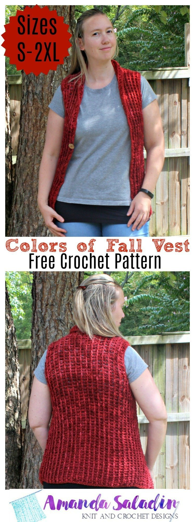 free crochet pattern - colors of fall vest
