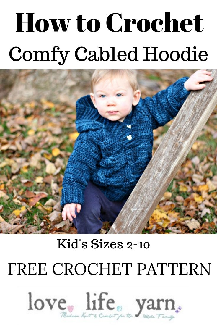 This adorable kid's hoodie is a FREE crochet pattern?  Wow!  This is such a great kid's sweater that can be worn all the time.  Totally making this for my kiddos for the fall.