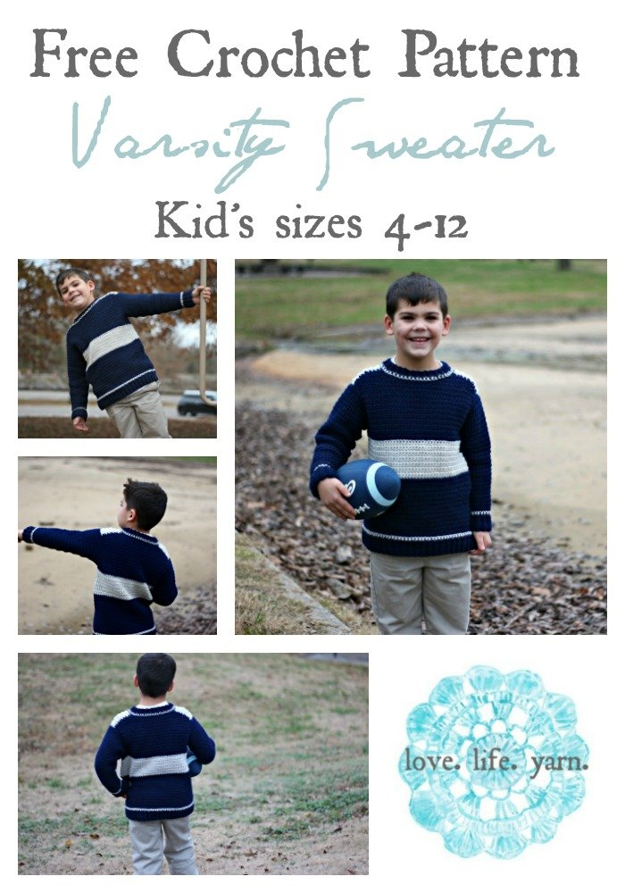Free Crochet Pattern - Varsity Sweater