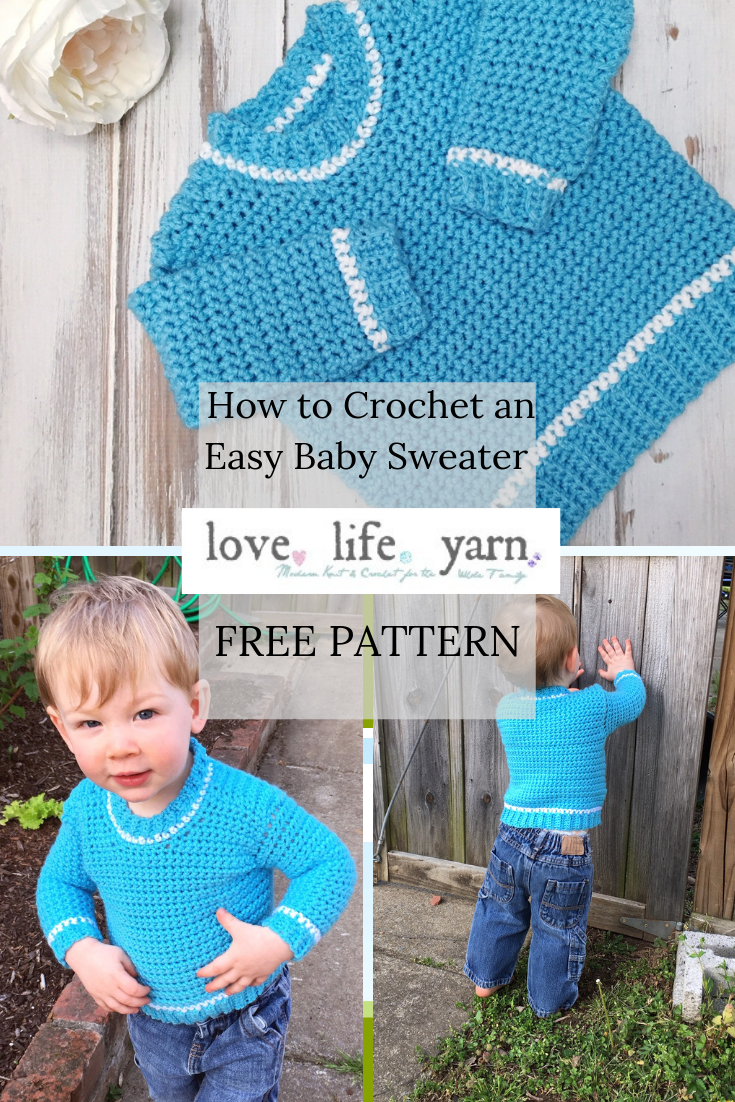 Free Crochet Pattern -  Baby Ribbed Shoulder Sweater