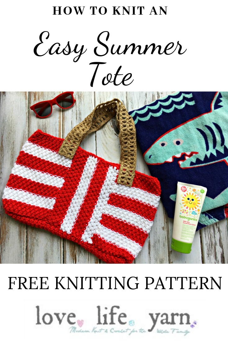 Learn how to knit this adorable summer tote with the free Striped Summer Tote pattern from Love.Life.Yarn