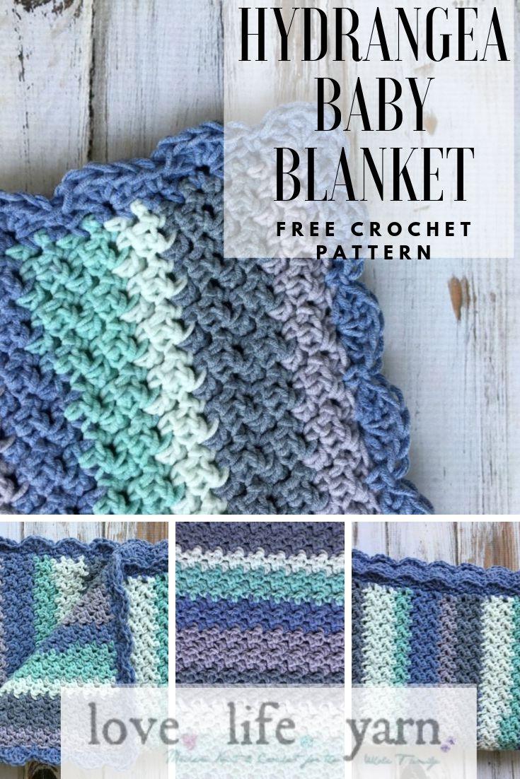 Hydrangea Baby Blanket Free Crochet Pattern Love Life Yarn