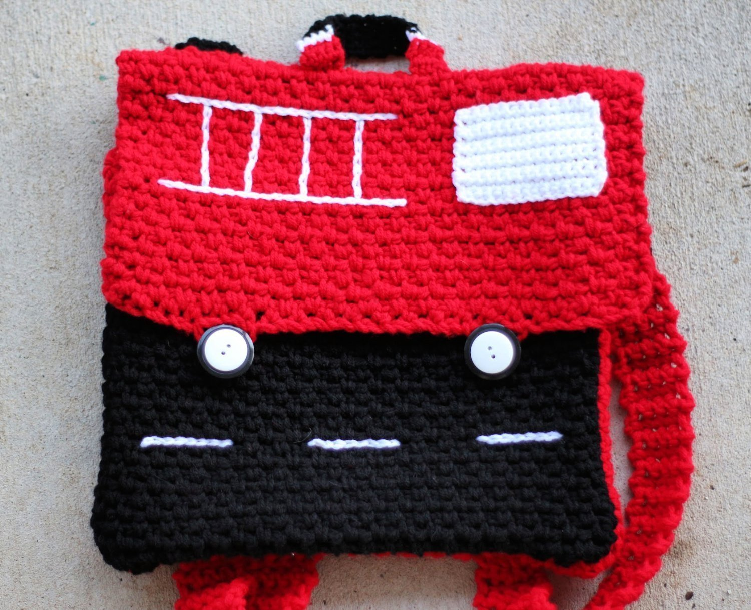 Free Crochet Pattern - learn how to crochet a fire truck backpack