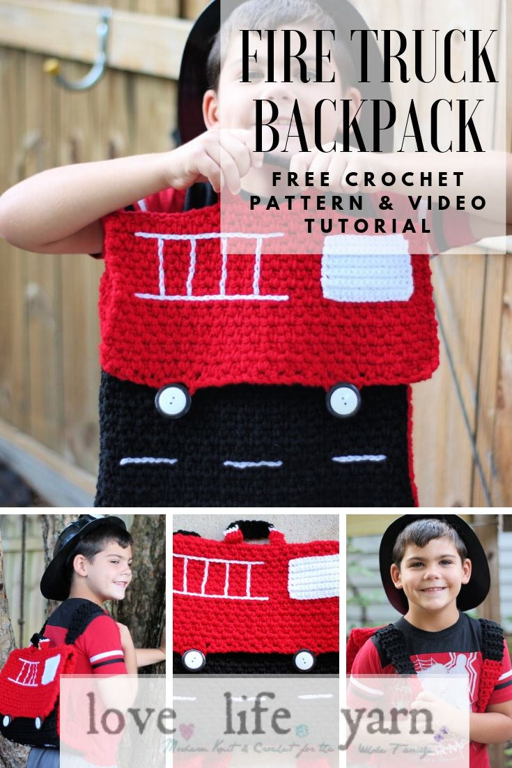 Learn how to crochet a fire truck backpack with this free crochet pattern and video tutorial!