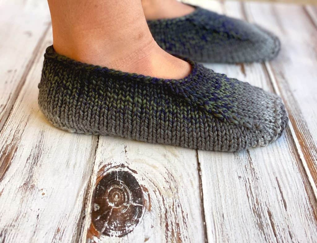 knit slippers from the side