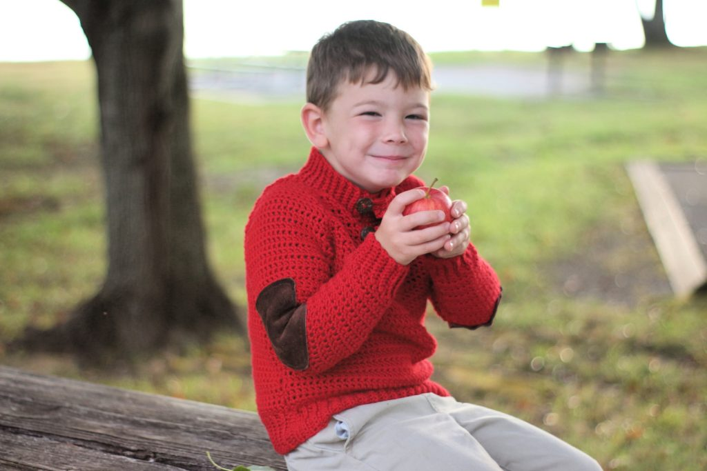 Free Crochet Pattern - Orchard Sweater in kid's sizes 4-10