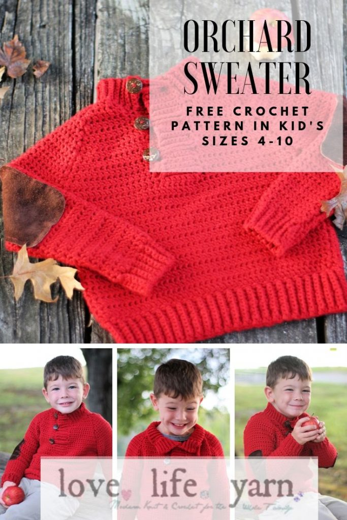 Free crochet pattern in kid's sizes 4-10 for the Orchard Sweater!  A funnel neck sweater with elbow patches created in chunky yarn for a quick project.