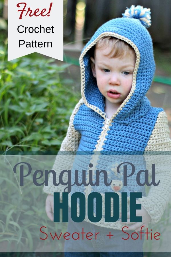 Crochet the sweetest hoodie and softie set with the Penguin Pal Hoodie pattern - a free crochet pattern from love.life.yarn