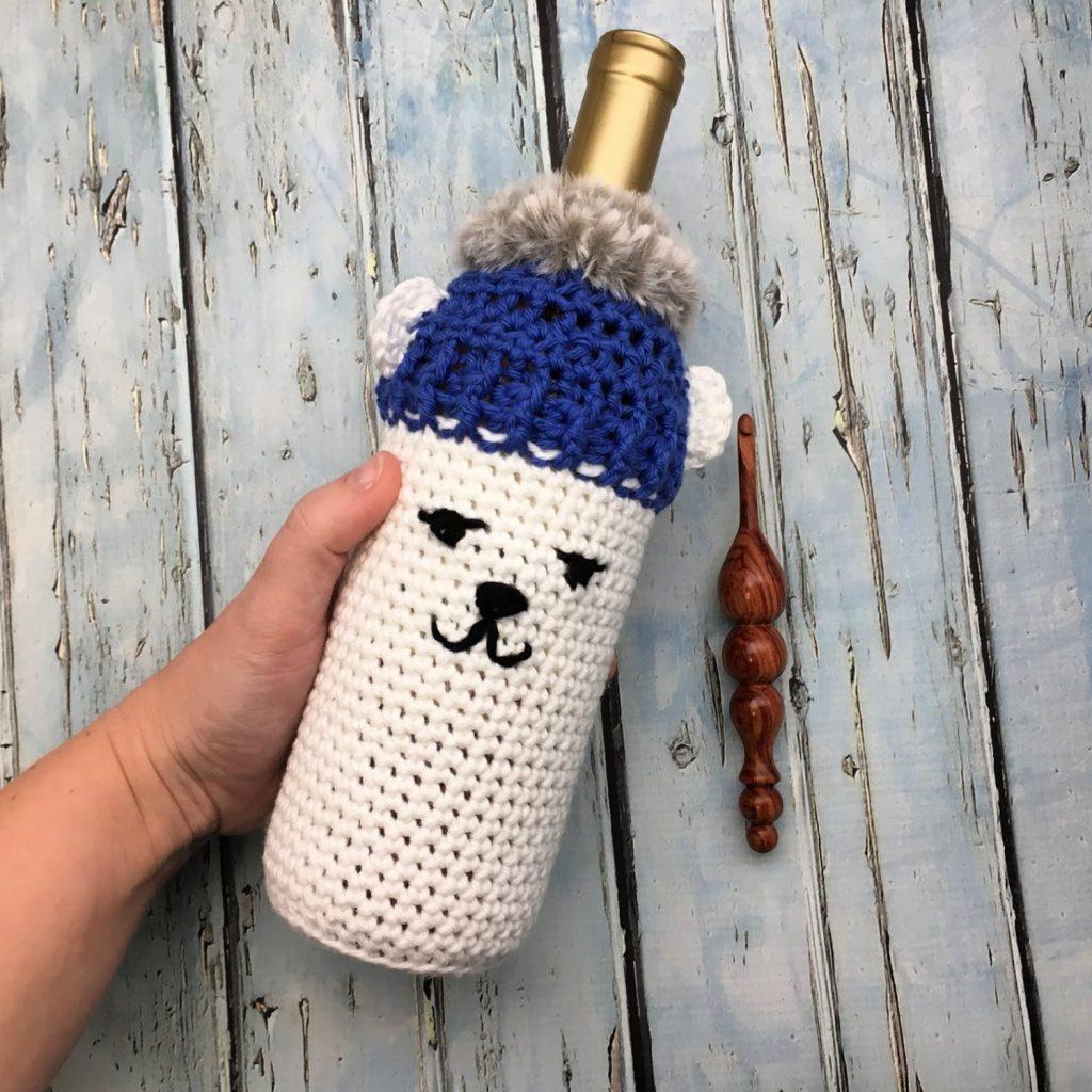 Polar Bear Bottle Cozy - Free Crochet Patter