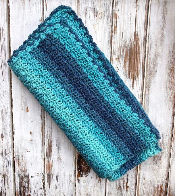 Quick Crochet Baby Blanket Folded